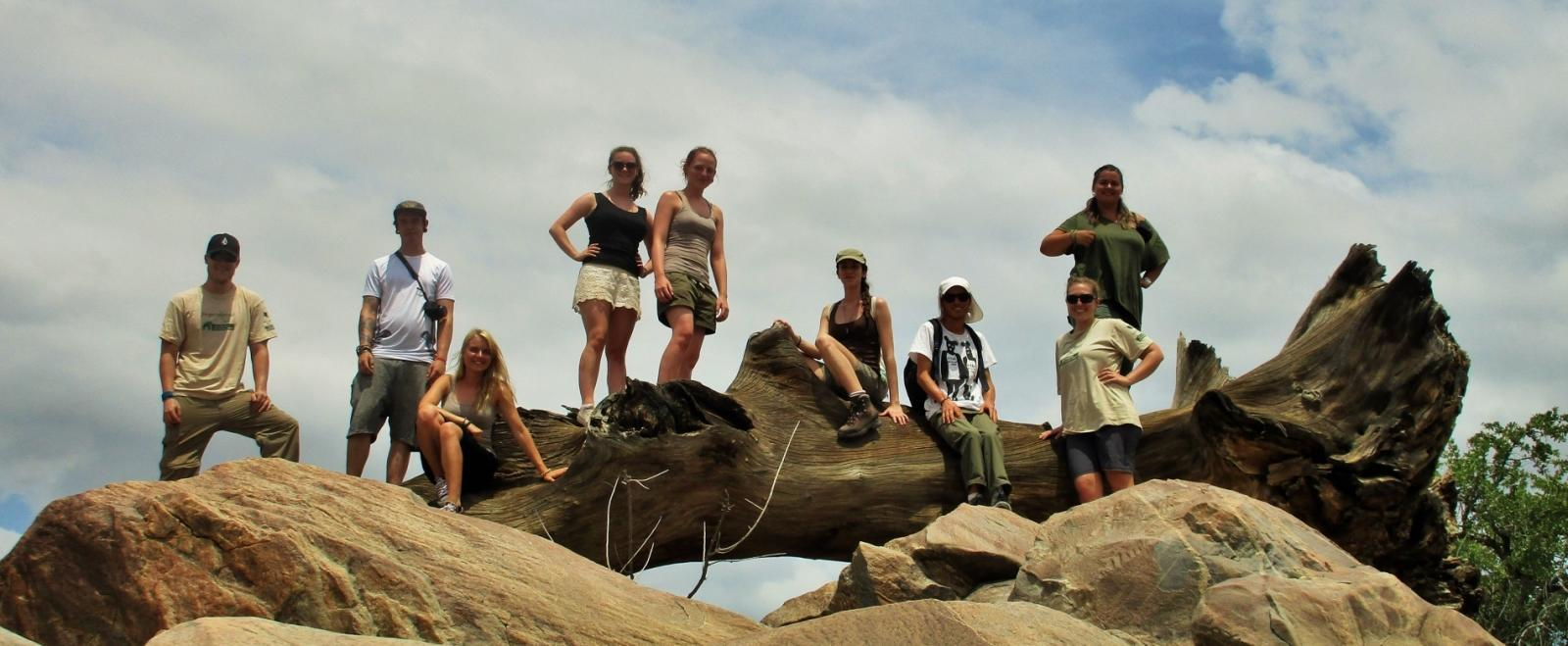 A group of volunteers helps with conservation work in Botswana for teenagers